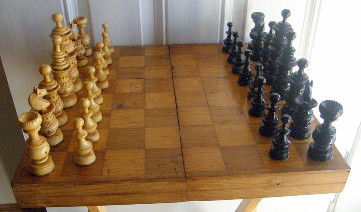 1940 39 s large hand carved chess set with box parquet lid - Chess nice image ...