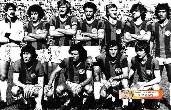 1979 San Lorenzo de Almagro - Parados: Corbo, Collavini, Marangoni, Pena, Gette, Coscia y O.Ruiz Agachados: MA.Torres, Rizzi, Marchetti y Schamberger .