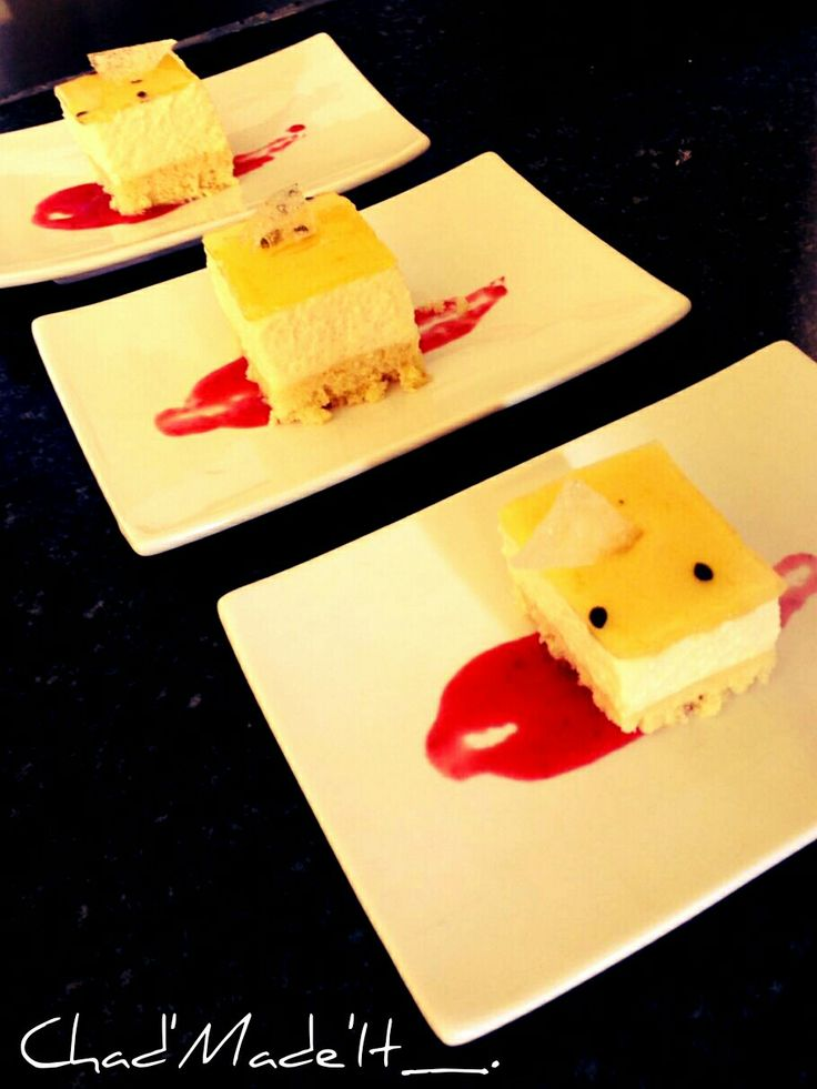 Granadella cheese cake and raspberry syrup reduction