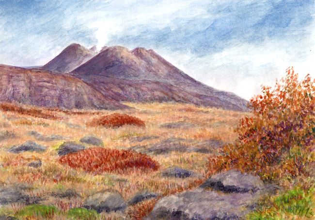 Autumn on Etna, watercolor and pastel by Jana Haasová