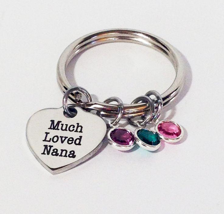 Nana, Nana Gift, Personalized Nana Gifts, Nana Birthstone Keychain, Nana Jewelry, Gifts for Nana, Christmas Gifts, Grandma, Grandma Gifts by SincereImpressions on Etsy