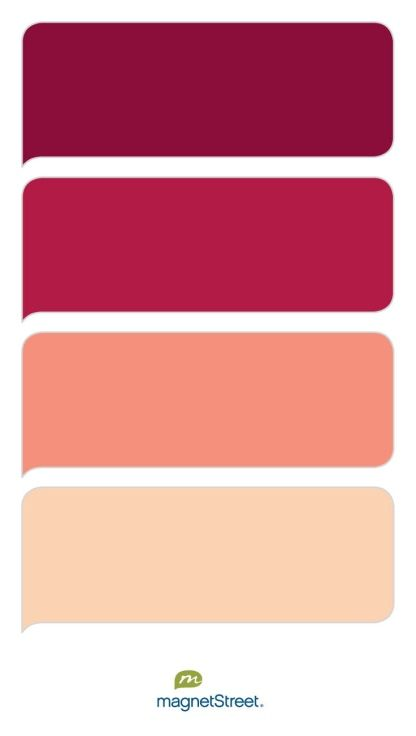Burgundy, Wine, Coral, and Peach Wedding Color Palette - custom color palette created at MagnetStreet.com