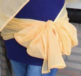 2-delige sluier set : Sluier chiffon rechthoekig goud GEEL + langwerpige sjaal  - 2-piece Veil set : Veil rectangle chiffon sunny YELLOW + long shawl