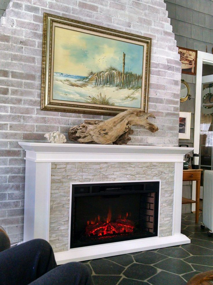 Wood mantle fireplace and Fireplace redo