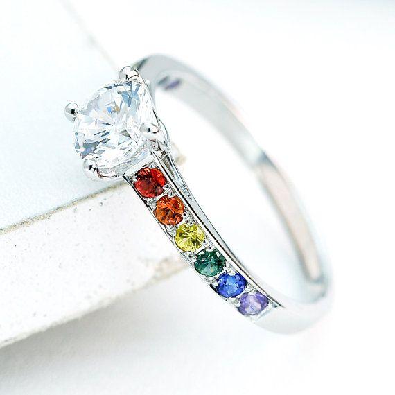 Lesbian Engagement Ring Wedding Band Diamond 14K White Gold, Unisex Unique Natural Rainbow Sapphire Las Vegas Ring R1720-50-14K-Wg