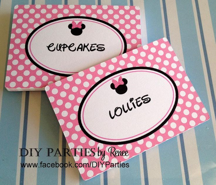 Candy buffet jar labels - rectangle - Minnie Mouse. Find us on Facebook: www.facebook.com/DIYParties