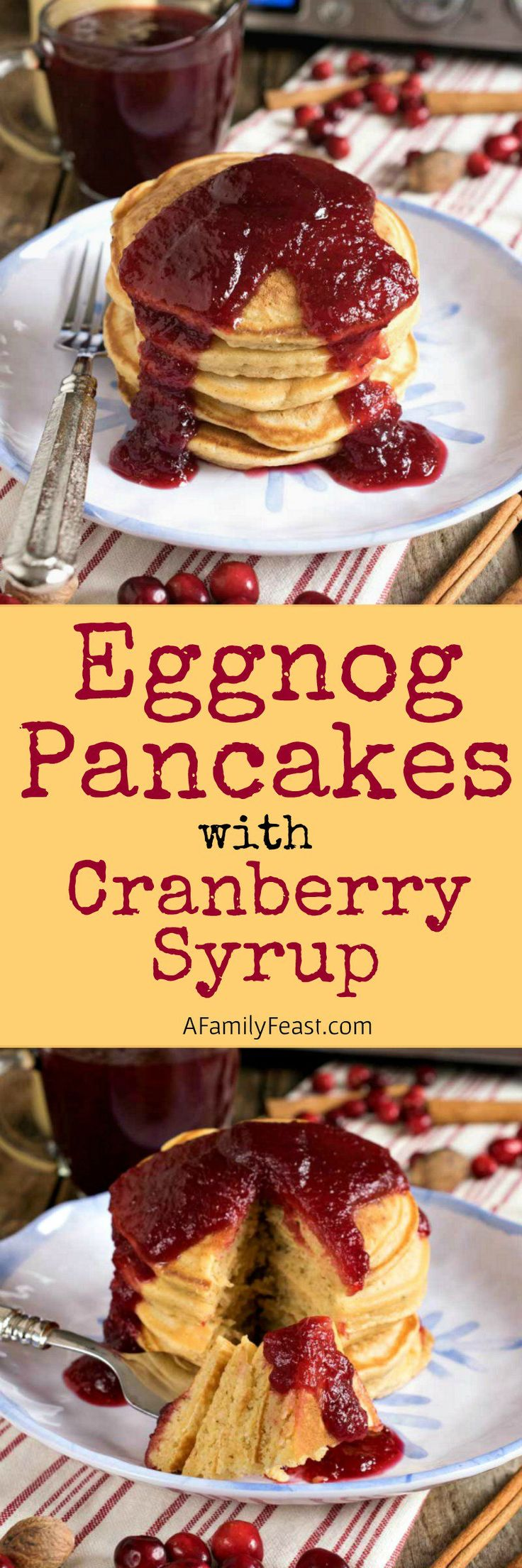 Eggnog Pancakes with Fresh Cranberry Syrup is a wonderful holiday breakfast the entire family will love!