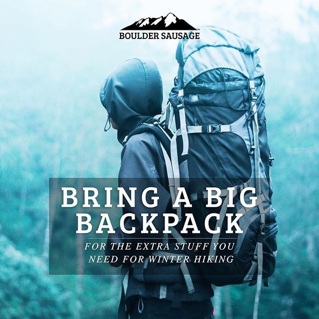 When hiking in cold weather it's good to carry a bigger backpack to fit all that extra winter #campinggear. #campinghacks #hikinghacks #outdoorlife #getoutside #healthyliving #goexplore #liveoutdoors #keepitwild #mountainlife #wanderlust #camping #wintercamping #instagood #picoftheday #travel #bouldersausage #boulder #denver #coloradosprings #fortcollins #breckenridge #aspen #vail #instatravel