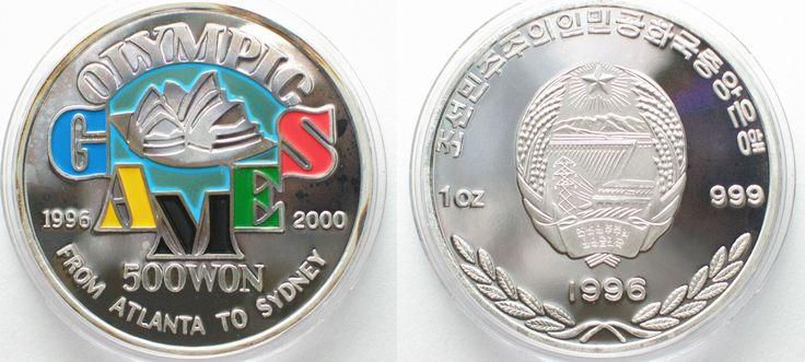1996 Nordkorea NORTH KOREA 500 Won 1996 OLYMPIC GAMES pure silver 1 oz Proof SCARCE! # 95643 Proof