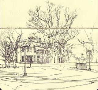 The Work of Daniel Robbins  There is a house receding back in space. There is nothing in the foreground and the largest thing in the space is the tree. There is an interesting interaction between the trees, which is what attracted me to this drawing. There is an asymmetric composition where the house and trees are off to the left, and the right has less going on.