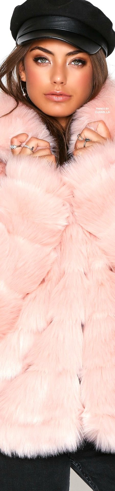 Pink Puffy Faux Fur Coat
