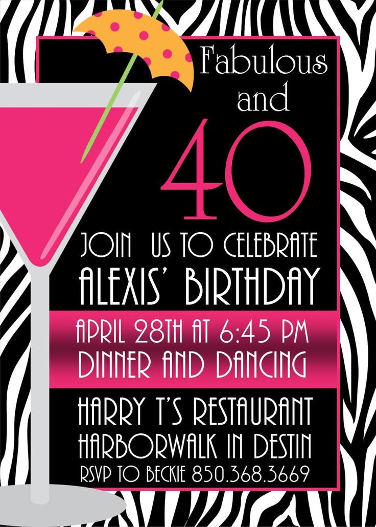 Zebra & Hot Pink Printable 40th Birthday Party Invitation