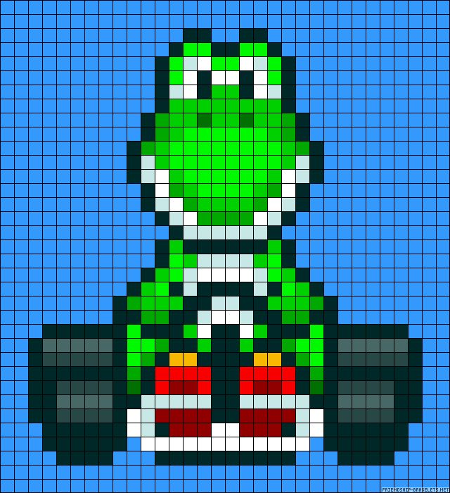 Mario Kart Yoshi perler bead pattern... Maybe also used for cross stitch?