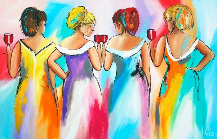 Vrolijk Schilderij 4 Vrolijke dames