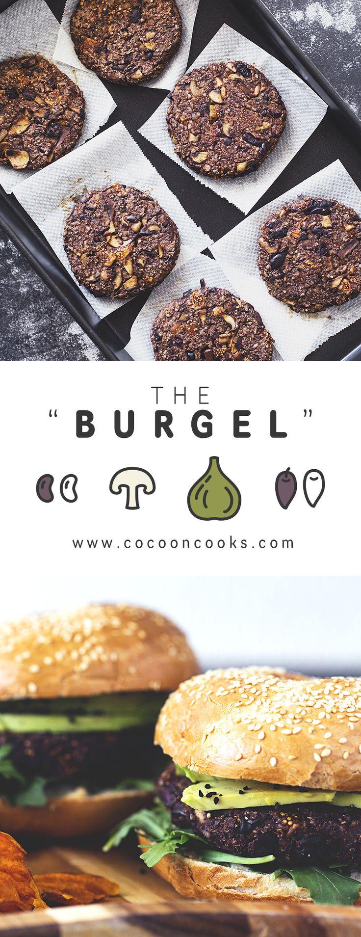 "The ""Burgel"" aka Black Bean, Mushroom, Fig & Kalamata Olive Burger in a Bagel. 100% plant-based and delicious! #vegan #recipe #burger"