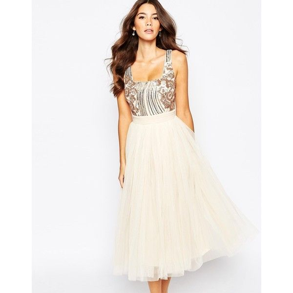 Little Mistress Sequin Midi Dress With Tulle Skirt (€65) ❤ liked on Polyvore featuring dresses, cream, white dress, sequin midi dress, fit and flare cocktail dress, white cocktail dresses and fit and flare dress