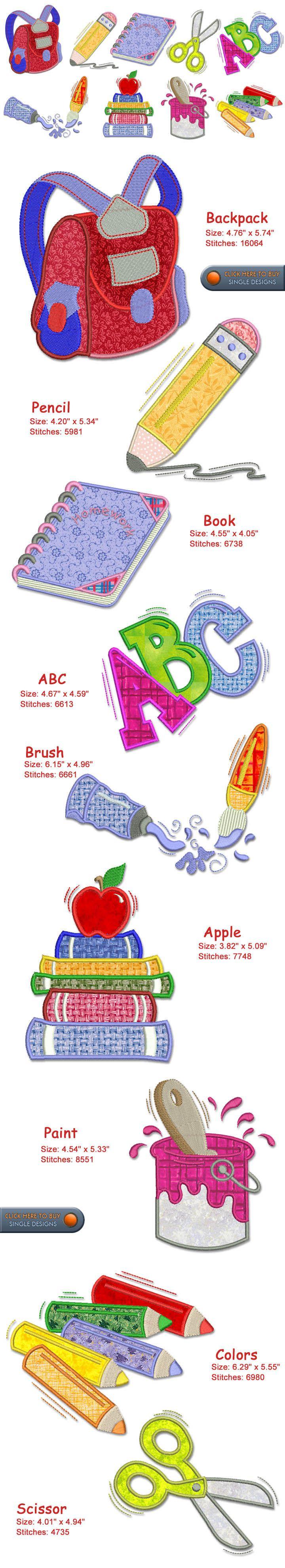 School Embroidery Designs