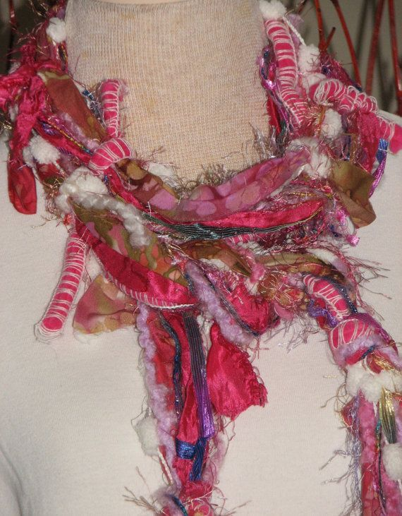 Knotty Scarves made from fabric scraps, decorative yarns ...