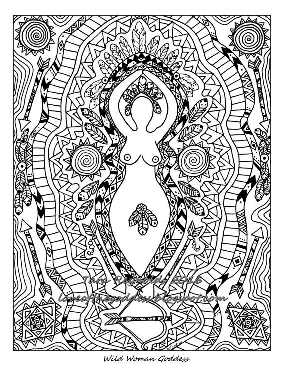 wild woman goddess coloring page