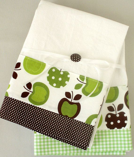 Kitchen towel with apple pattern in green and brown cotton fabric accent - set of two flour sack towels