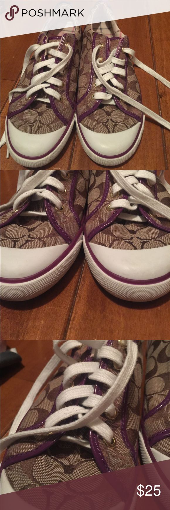 Coach tennis shoes 9.5 Barrett Good overall condition. These shoes have been worn but in good condition.as you can see in the pictures, there is some rub off from the purple patent leather. Clean and from a smoke free home. Coach Shoes Sneakers