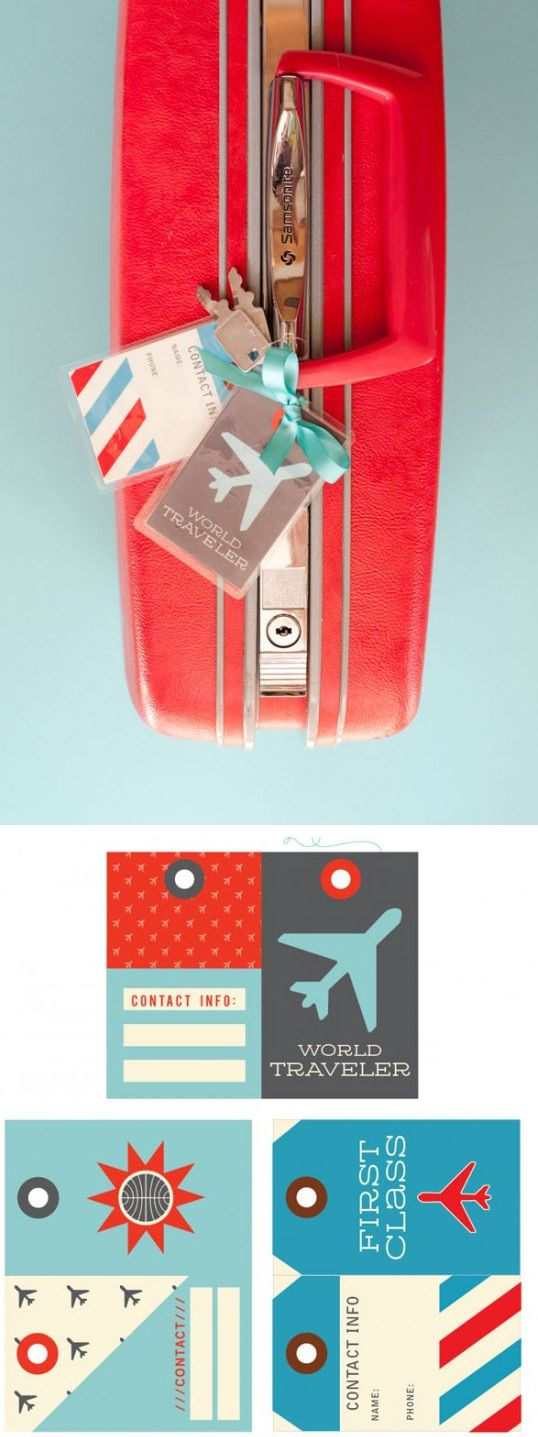 Free PDF Luggage Tags Printable - so cute for travel mini albums or project life