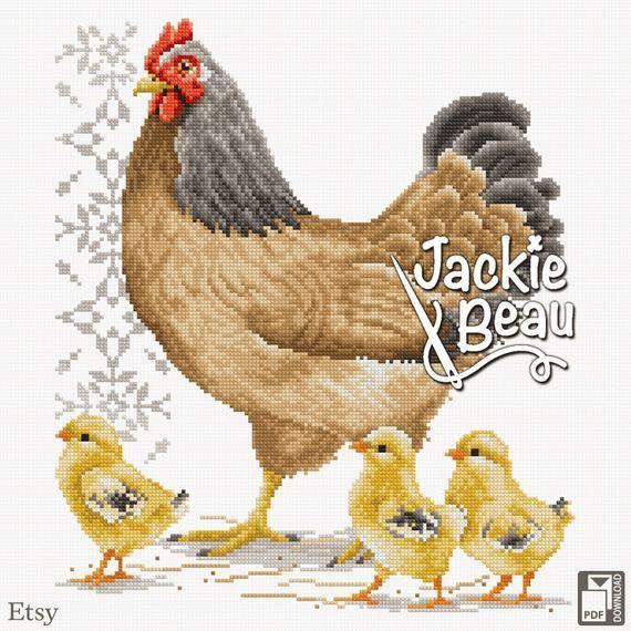Cross Stitch Pattern Chicken With Chicks Ll By Jackie Beau Pdf Download C Beau2stitch Embroidery Pattern With Images Chicken Cross Stitch Cross Stitch Patterns Cross Stitch Patterns Christmas
