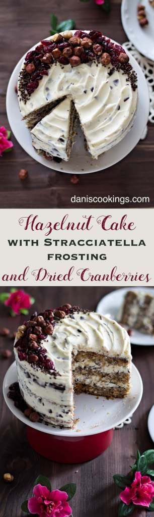 Hazelnut Cake with Stracciatella Frosting and Dried Cranberries. #Christmas #desserts