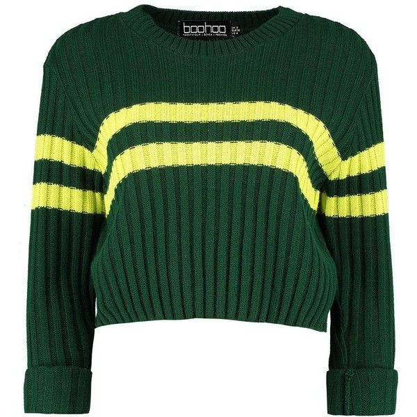 Boohoo Boohoo NA ($15) ❤ liked on Polyvore featuring tops, sweaters, striped sleeve sweater, green sweater, striped top, green jumper and multi stripe sweater