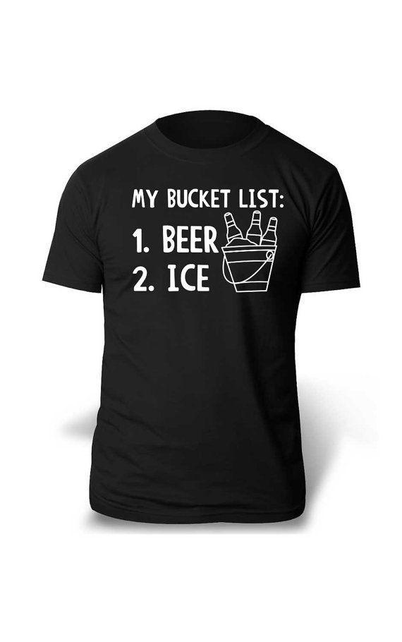 Bucket List Beer Ice Tshirt T-Shirt Tee Shirt Mens Womens Ladies Geek Funny – Women's Fashions