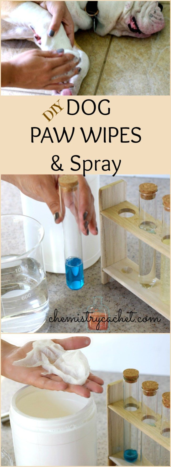 DIY Dog Paw Wipes & Spray. Only a few simple ingredients that cleans, soothes, and disinfects. Just a few pennies per batch! See video on chemistrycachet.com