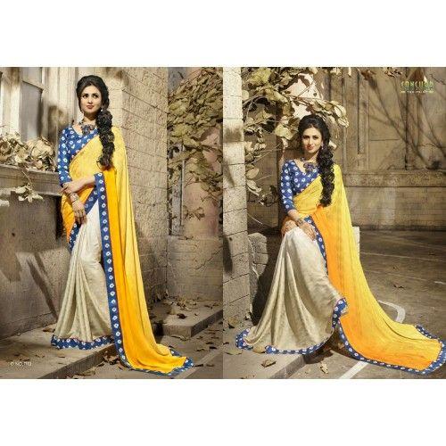 Gorgeous work wear yellow and cream printed saree