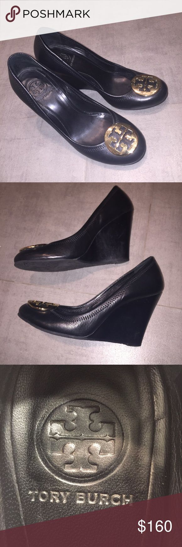Tory Burch Leather Wedge Pump Black Gold Size 7 Excellent used condition, authentic Tory Burch wedge pumps. Small scuff on back of left heel, otherwise no flaws. Open to reasonable offers! Tory Burch Shoes Wedges