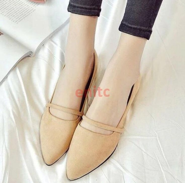 Pointy Toe Slip On Loafers Faux Suede Womens Ladies Boat Shoes Pumps Flats C-72