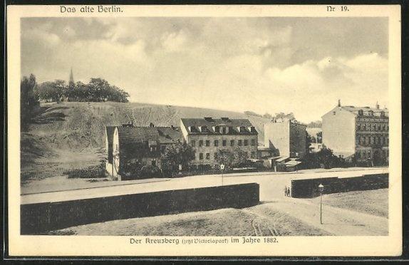 Alte Ansichtskarte: AK Berlin-Kreuzberg, Blick auf den Kreuzberg, jetzt Victoriapark, 1882