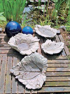 Vogeltränke oder Badeplatz aus Rhabarberblättern