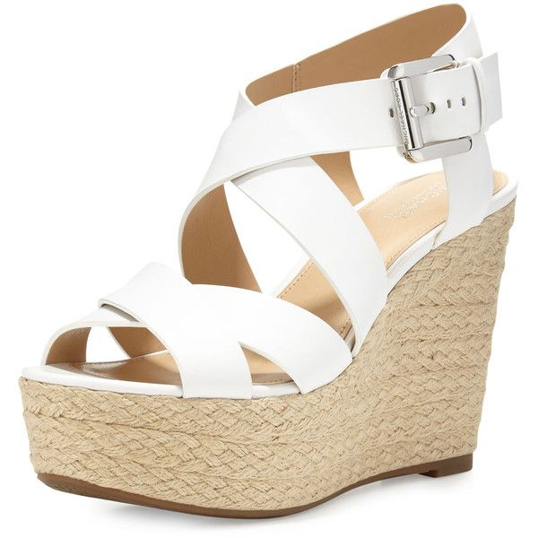 MICHAEL Michael Kors Celia Leather Mid-Wedge Espadrille Sandal ($145) ❤ liked on Polyvore featuring shoes, sandals, optic white, wide wedge sandals, white wedge sandals, woven leather sandals, white sandals and open toe wedge sandals