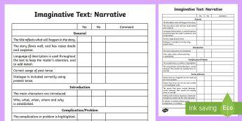 Imaginative Text: Narrative Assessment Checklist - Literacy, Imaginative Text Narrative  Assessment Tracker Australian, imaginative assessment grid, na