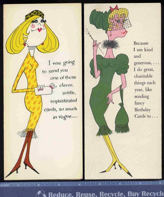 2 Vintage rEtrO VOGUE WOMEN funny gReeTinG CARDs BIRTHDAY oLd – Sophisticated Birthday Cards