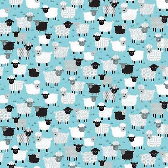 #Blue Jolly Farm #Sheep by Makower pure cotton by fabricandribbon #fabric