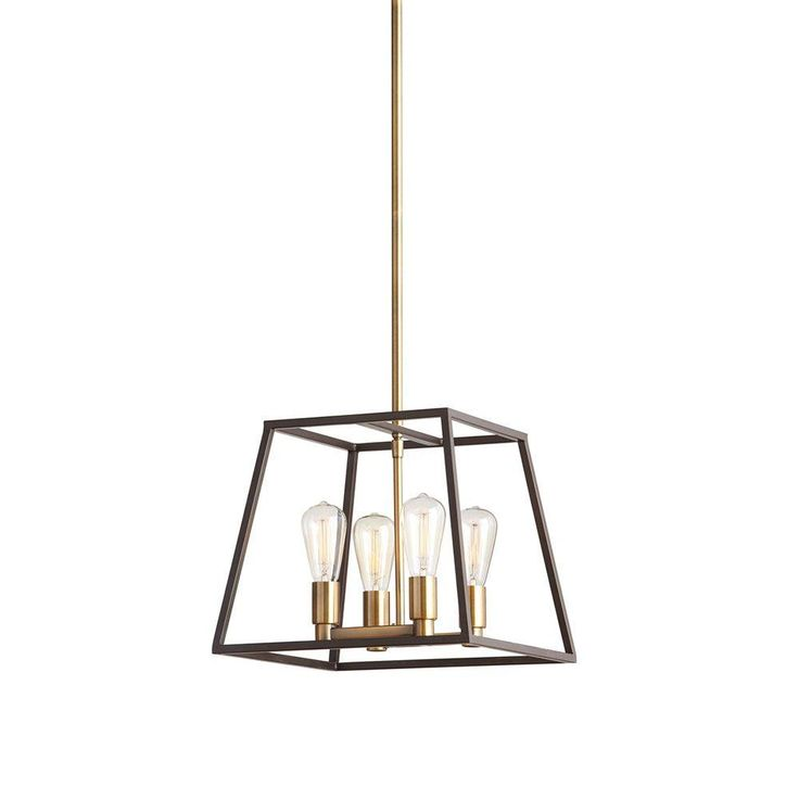 This contemporary bronze pendant is perfect for apartments and homes going for that industrial, minimalist look. Its geometric shape and exposed filament bulbs add sophistication to any dining area. It's one of The Home Depot's most pinned products.