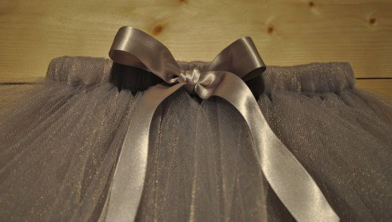 Floor length Grey Silver Tutu with Satin Bow by BeautifulGreys, £19.00