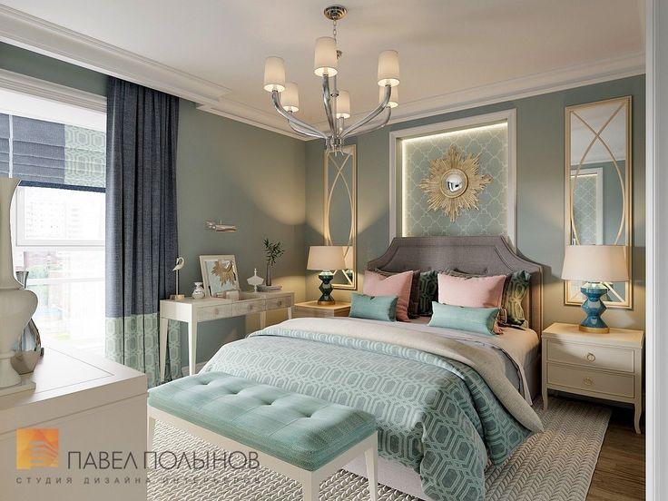 Фото дизайн интерьера спальни из проекта «Квартира в стиле американской неоклассики, ЖК «Академ-Парк», 107 кв.м.»