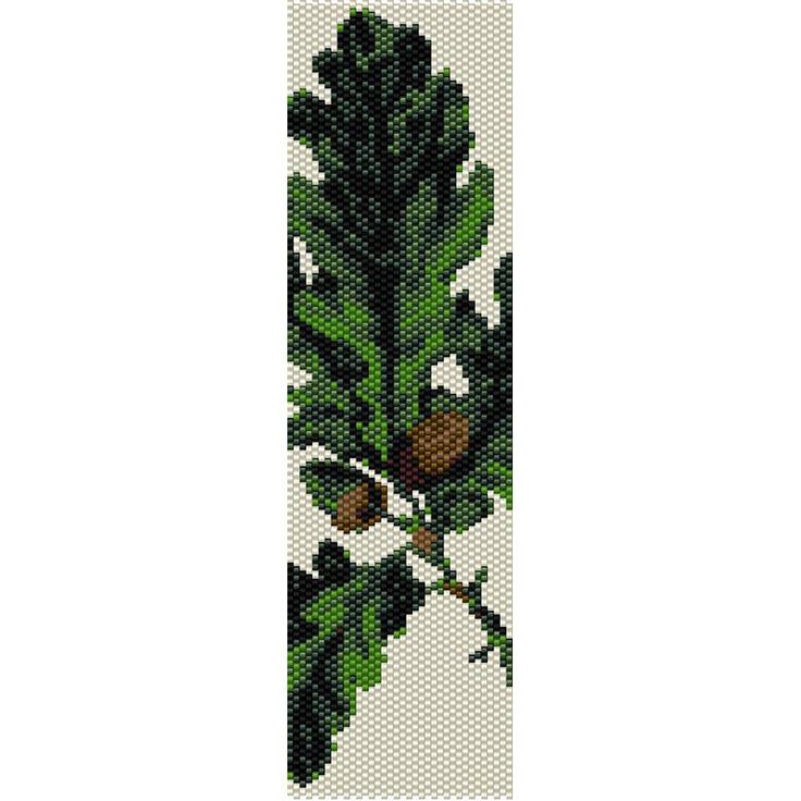 Oak Leaves Peyote Bead Pattern, Bracelet Cuff, Bookmark, Seed Beading Pattern Miyuki Delica Size 11 Beads - PDF Instant Download by SmartArtsSupply on Etsy