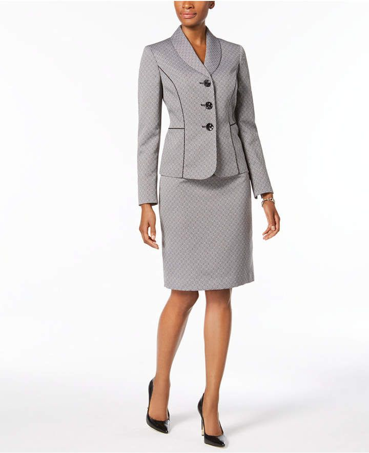 7786130fc6482 Le Suit Printed Three-Button Skirt Suit