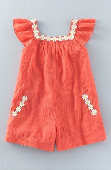 Free shipping and returns on Mini Boden 'Floaty Daisy' Romper (Toddler Girls, Little Girls & Big Girls) at Nordstrom.com. Playful daisy appliqués, short ruffle sleeves and a relaxed fit will make this one-piece romper fashioned from lightweight cotton an easy-to-wear favorite.