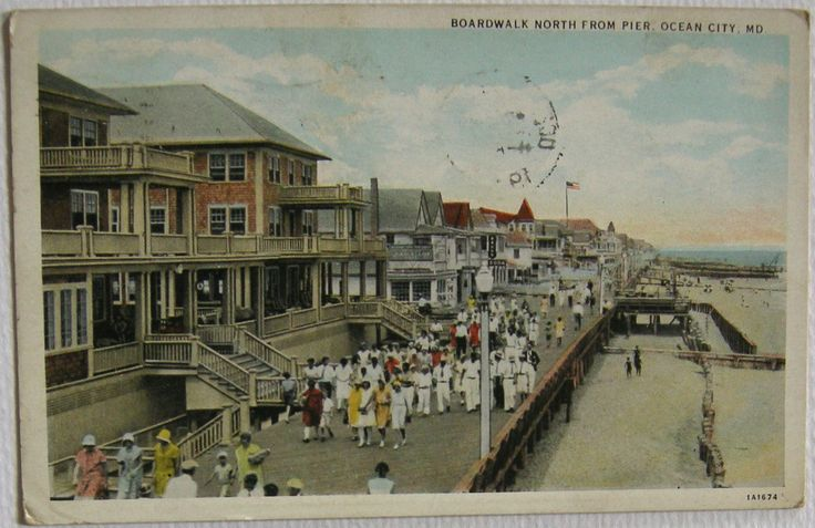 Postcard Boardwalk North from Pier, Ocean City, MD 1933