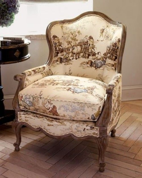 "Modern Upholstery Fabric | This chair upholstered in a ""heading out West"" toile fabric would be ..."