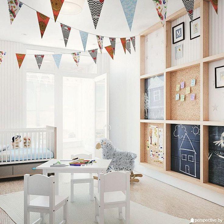 «Интересный вариант оформления стены в детской комнате от студии @perspective_by. Стена разделена на сектора с помощью деревянного бруса, внутри них…»