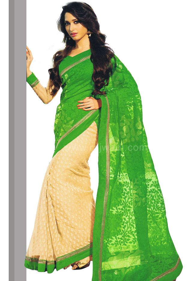 Gorgeous Party wear Cream & Lime green coloured saree
